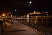 Chain bridge with 'Buda Castle' lit in the background