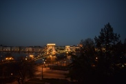 View of the Chain Bridge at dusk