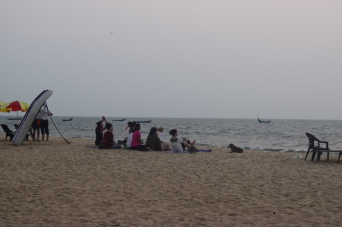 Group meditation at Marari Beach