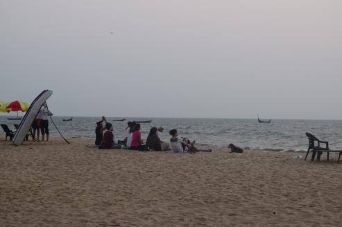 Group meditation at Marari Beach